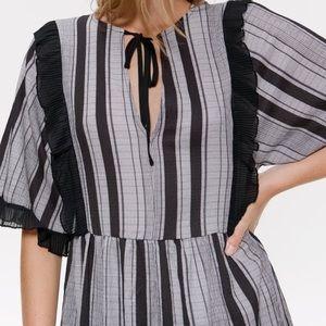 Zara midi striped dress w drawstring neck ❤️ NWT